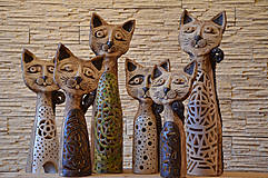 Socha - Srážkyně domova...keramická kočka - 7715777_