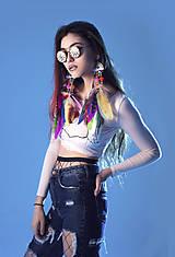 Náušnice - Rainbow hippie nášnice s bambulkami - 7718382_