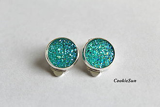 Náušnice - Glitter Turqoise (12mm) - 7714523_