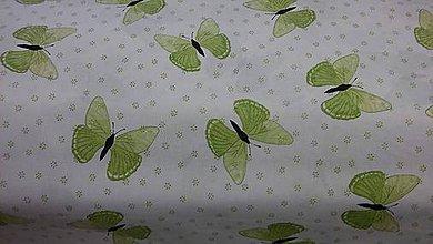Textil - Motýliky a kvietky v zelenom š.140 - 7714725_