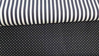 Textil - Tmavomodrý prúžok s bielou š. 140cm - 7714772_