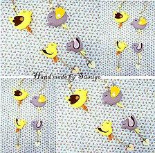 Dekorácie - Závesná dekorácia vtáčiky žltá - 7714469_