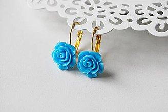 Náušnice - Modré visačky s ružou - 7717021_
