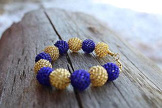 Náramky - náramok modro-zlatý - 7720350_