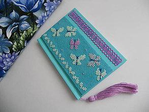 Papiernictvo - Motýlie nebo (vyšívaný zápisník) - 7719223_