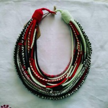 Náhrdelníky - Ethno náhrdelník z priadzí - 7719852_