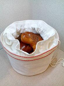 Košíky - Ľanový košík a vrecko v jednom s červeným lemom - 7723111_