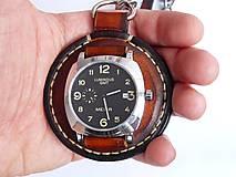 Náramky - Vreckové kožené hodinky hnedo-čierne - 7723176_