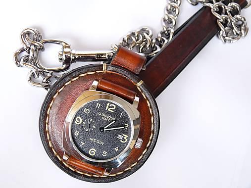 Vreckové kožené hodinky hnedo-čierne   leon - SAShE.sk - Handmade ... 850eedc34c5