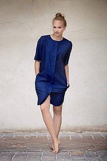 Šaty - Tmavě modré košilové šaty s kapsami - 7718564_