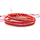 Náramky - Červený náramok so zlatou priadzou - 7720178_