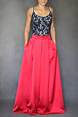 Sukne - Spoločenská skladaná sukňa s vreckami rôzne farb - 7720775_