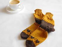 Obuv - horčicovohnedé ponožky 100% VLNA (v.36-37) - 7718853_