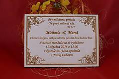 Papiernictvo - Drevené svadobné oznamenie gravírované 1 - 7719072_