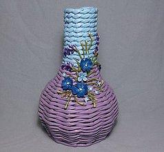 Dekorácie - Fialovobelasá dekoračná váza - 7726406_