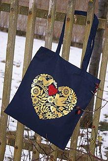 Nákupné tašky - Srdce v srdci - zlatá - 7725205_