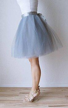 Sukne - Tylová sukňa sivá - 7724175_
