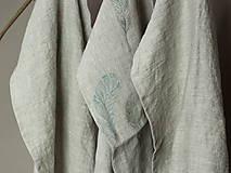 Úžitkový textil - Set troch ľanových utierok s ručnou potlačou pierok - 7724895_