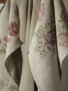 Úžitkový textil - Set ľanových utierok s ručnou potlačou - Linen rose - 7724617_