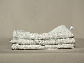 Úžitkový textil - Set troch ľanových utierok s ručnou potlačou pierok - 7724911_