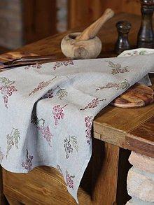 Úžitkový textil - Ľanová utierka s ručnou potlačou hrozna - 7725023_
