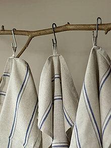Úžitkový textil - Set troch ľanovo-bavlnených utierok prírodnej farby s modrými pásmi - 7725092_