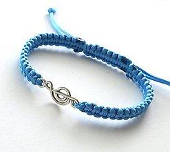 Náramky - S husľovým kľúčom (modrý svetlý) - 7727062_