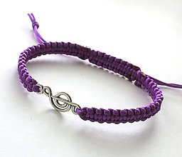 Náramky - S husľovým kľúčom (fialový) - 7727084_
