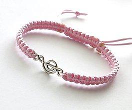 Náramky - S husľovým kľúčom (ružový svetlý) - 7727160_