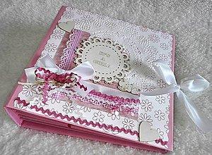 Papiernictvo - Veľký ružový fotoalbum pre bábätko - dievčatko - 7724217_