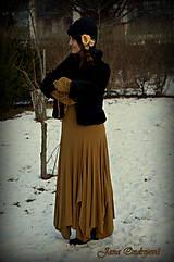 Čiapky - Hodvábno-vlnený klobúk čierny s horčicovými ružami - 7725958_