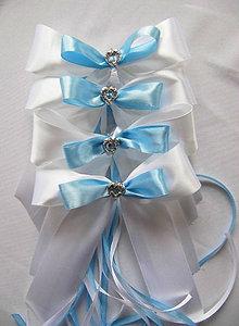 Dekorácie - mašle na svadobné auto bledomodré - 7726769_