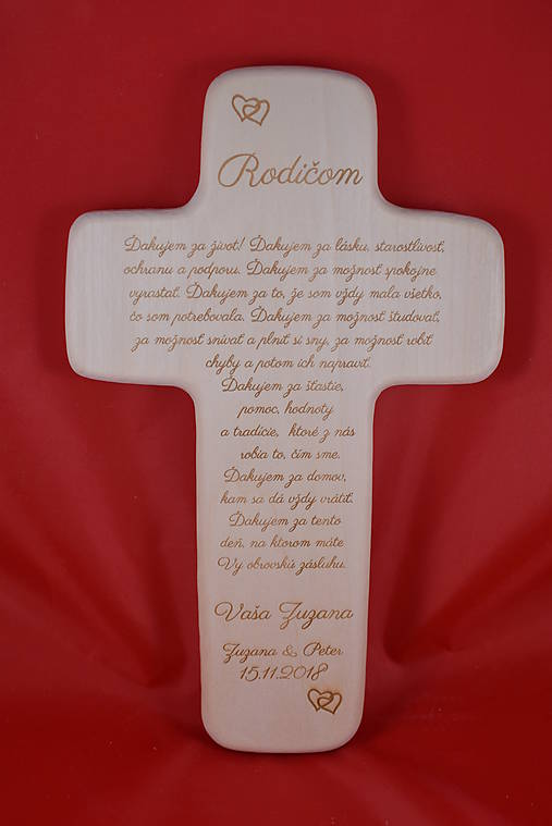Drevený svadobný križik ako poďakovanie rodičom 1