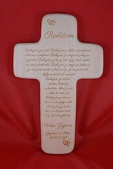 Darčeky pre svadobčanov - Drevený svadobný križik ako poďakovanie rodičom 1 - 7725965_
