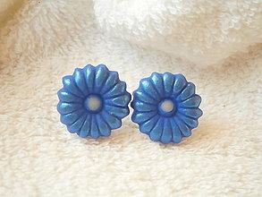 Náušnice - Náušnice z polyméru, modráčiky - 7723836_