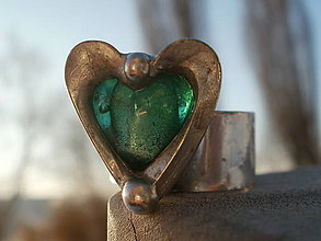 Prstene - Smaragdovozelené srdce- tiffany - 7730905_
