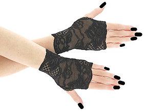 Rukavice - Dámské čierne čipkové   rukavice 0145 - 7731193_