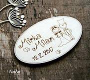 Magnetky pre svadobných hostí Oválik