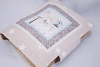 Detské doplnky - Organizér na plienky béžové hviezdičky s vtáčimi búdkami - 7730424_