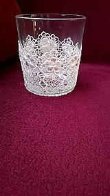 Svietidlá a sviečky - Sklenený svietnik na svadbu krajkový - 7729893_