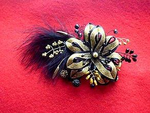 Ozdoby do vlasov - čierno-zlatá sponka 2 - 7728493_