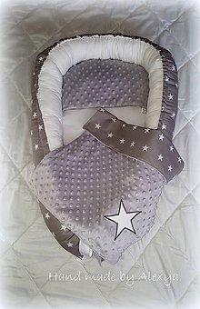 Textil - Set pre bábätko hviezdičky ( hniezdo + deka 70X50 cm) - 7728268_