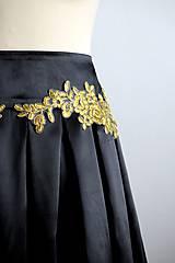 Sukne - slávnostná sukňa so zlatou čipkou - 7729469_