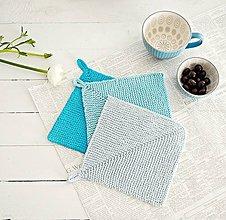 Úžitkový textil - Pletené chňapky - modré - 7728793_