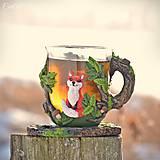 Nádoby - Čaj v lese - hrnček na čaj s líškou - 7729303_