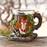 Nádoby - Čaj v lese - hrnček na čaj s líškou - 7729342_