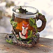 Nádoby - Čaj v lese - hrnček na čaj s líškou - 7729341_