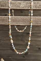 - Náhrdelník z minerálov larimar, ruženín, citrín, achát, jadeit... - 7728305_