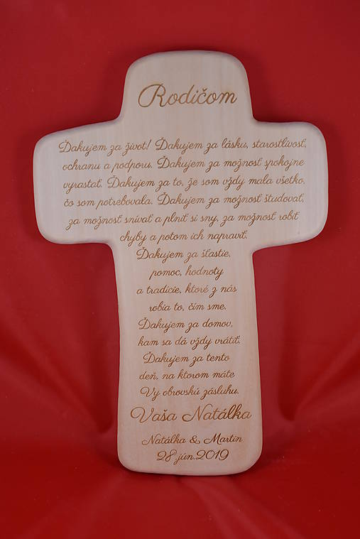 Drevený svadobný križik ako poďakovanie rodičom 2