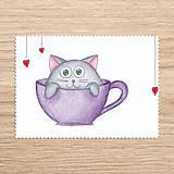 Papiernictvo - Roztomilosť v hrnčeku - zvieratko mačka - 7730387_